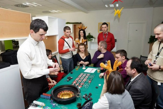 The SiteGround team knows how to party and never misses a chance to get together and celebrate big company milestones. Then, the office becomes a party corner that can even host casino games.