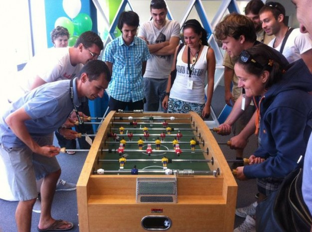 The game and recreation area allows people to play foosball, table tennis, darts, pool table, and more.