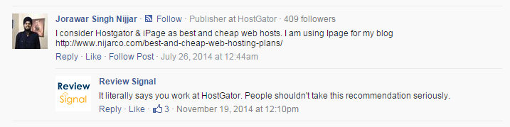 hostgator self promo on TC